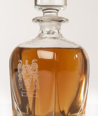Fusion Whiskey Decanter engraved with family crest