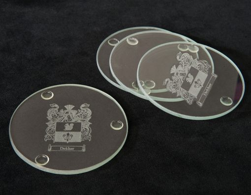 Engraved Glass Coasters Set