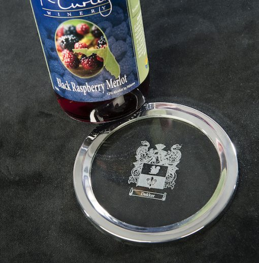 engraved wine coaster