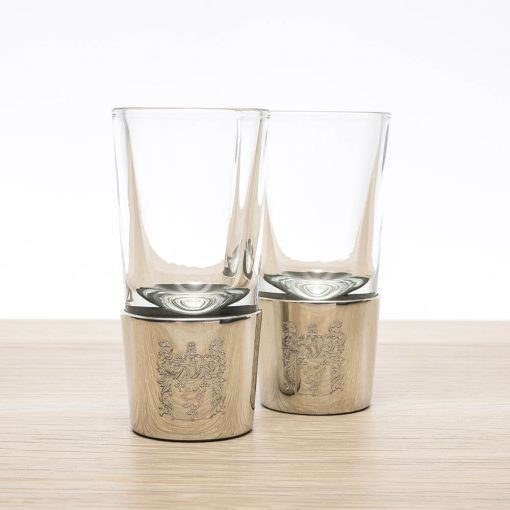 engraved pewter shot glasses coat of arms