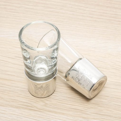 engraved pewter shot glasses set of two