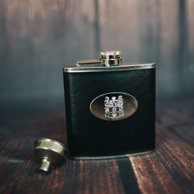 men's black personalised hip flask