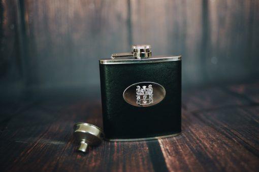 men's black personalised hip flask