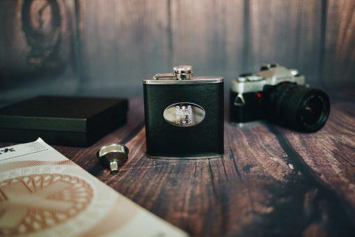 Personalised black hip flask gift