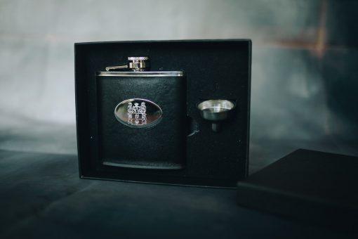 Engraved black hip flask