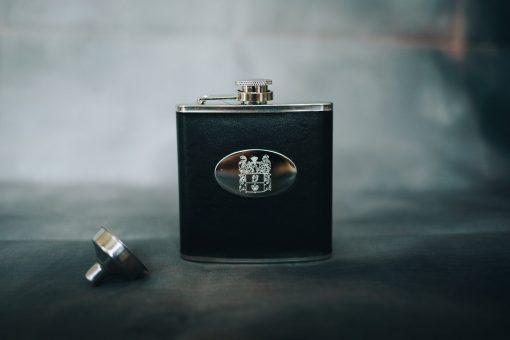 black personalised hip flask