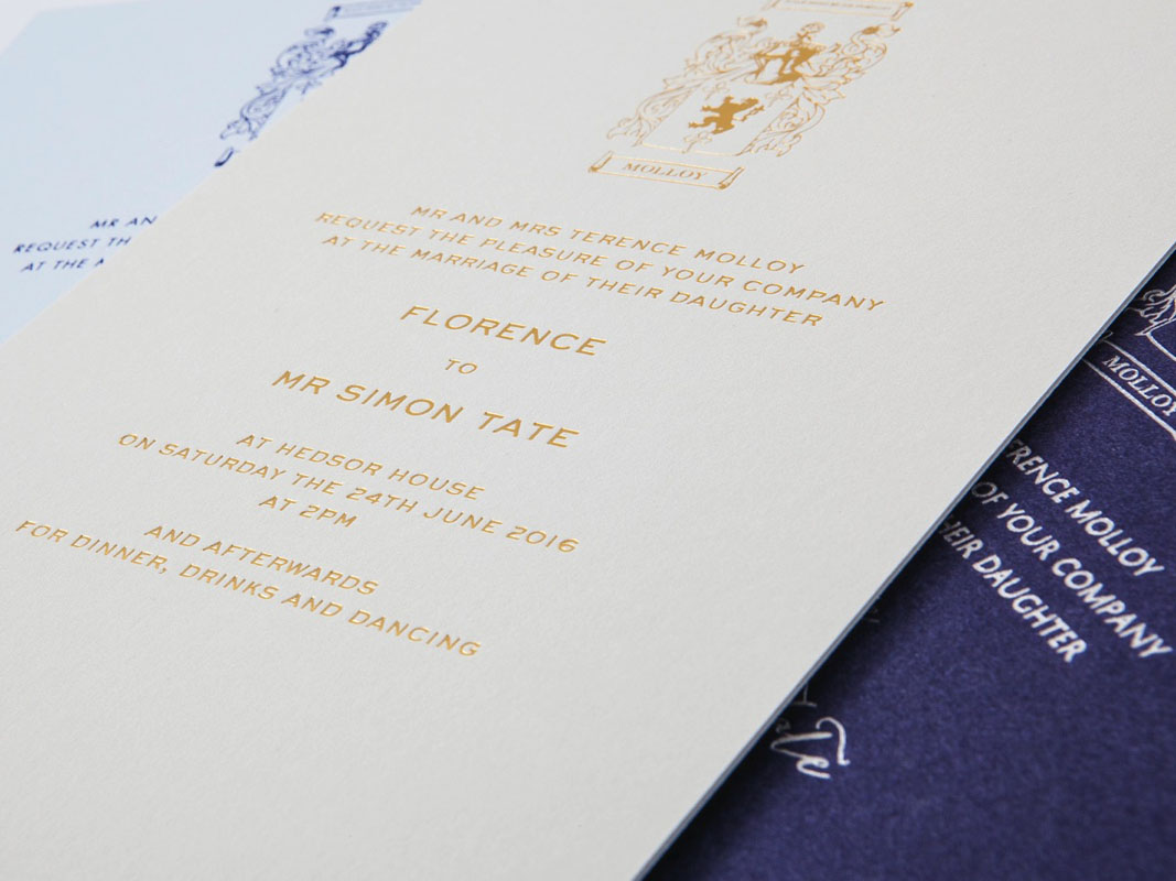 Bespoke Wedding Invitations Printed With Your Families Coat of Arms